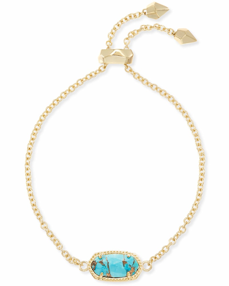 Elaina Adjustable Chain Bracelet in Bronze Veined Turquoise Magnesite