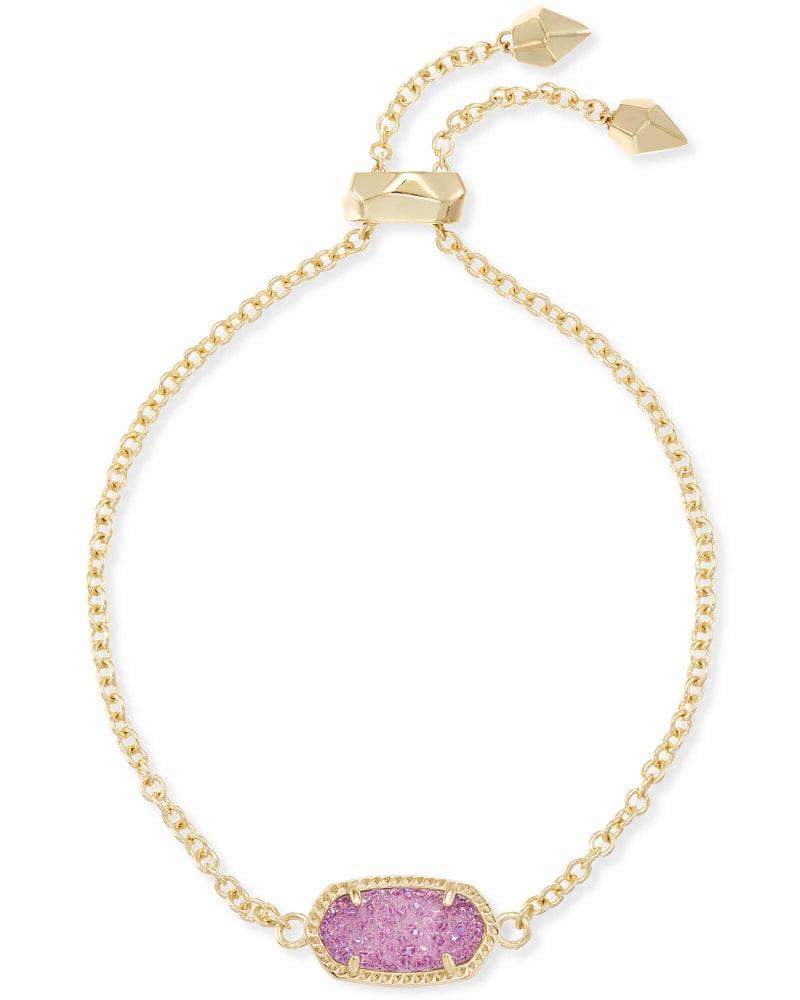 Elaina Gold Adjustable Chain Bracelet in Violet Drusy