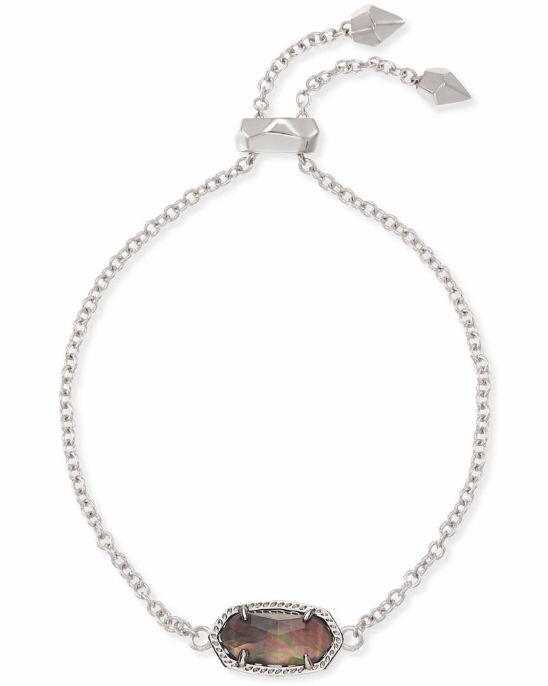 Elaina Silver Chain Bracelet in Black Mother-of-Pearl