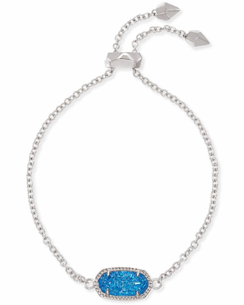Elaina Silver Adjustable Chain Bracelet in Cobalt Drusy
