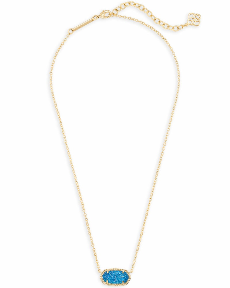 Elisa Gold Pendant Necklace in Cobalt Drusy