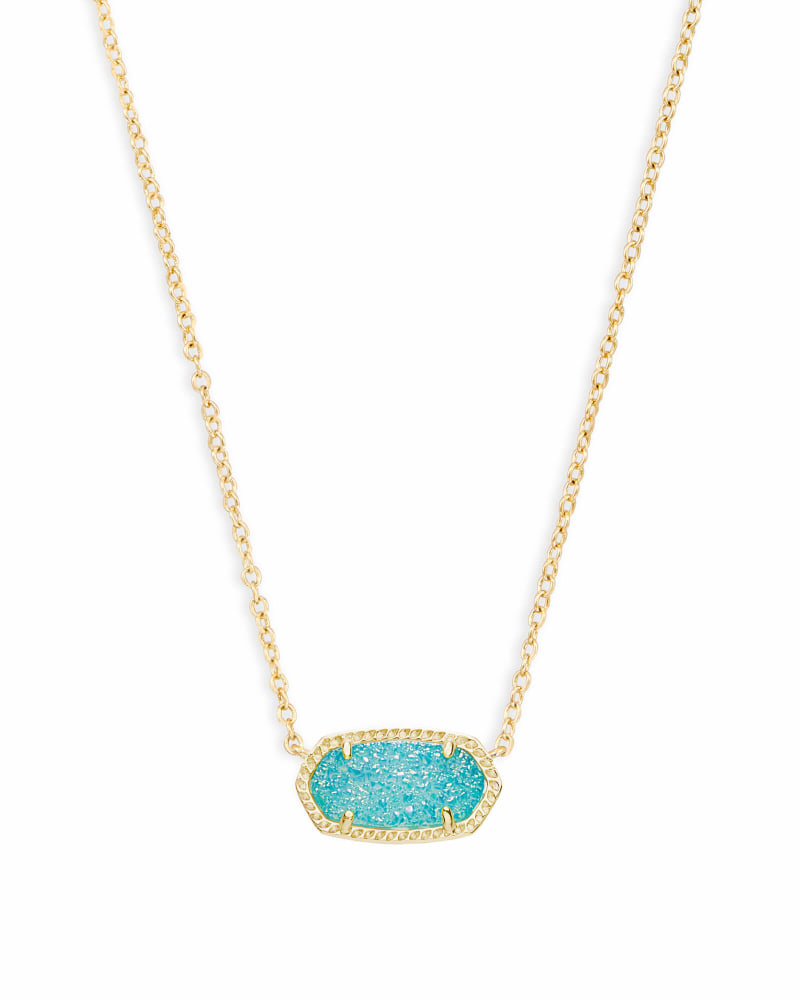 Elisa Gold Pendant Necklace in Teal Drusy