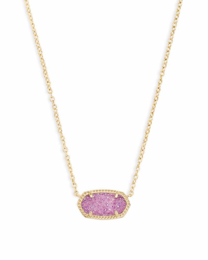 Elisa Gold Pendant Necklace in Violet Drusy