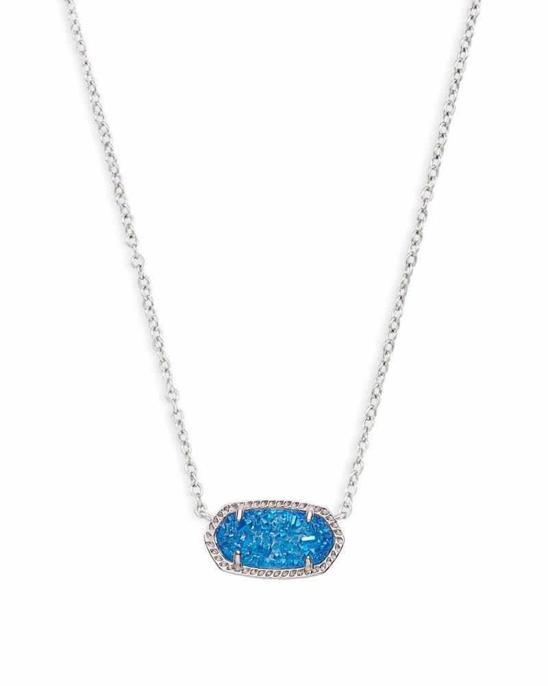 Elisa Silver Pendant Necklace in Cobalt Drusy