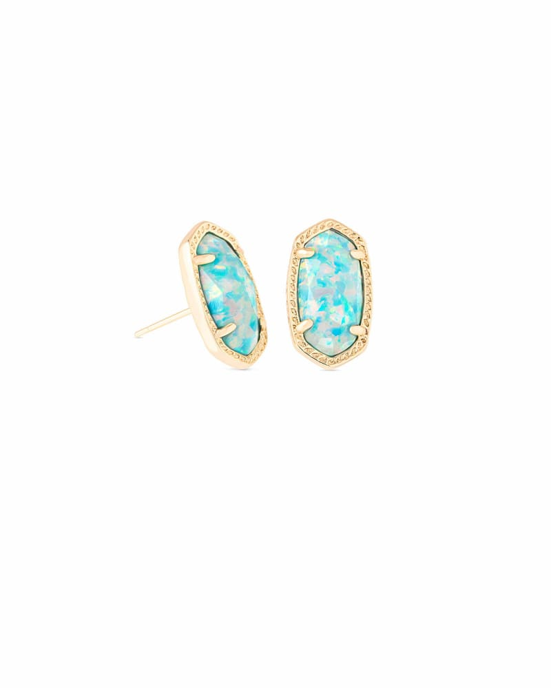 Ellie Stud Earrings in Aqua Kyocera Opal