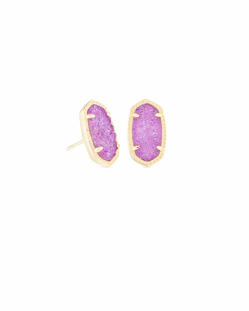 Ellie Gold Stud Earrings in Violet Drusy