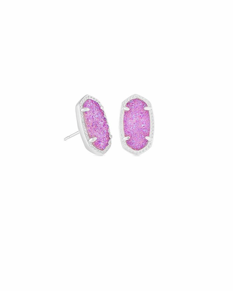 Ellie Silver Stud Earrings in Violet Drusy