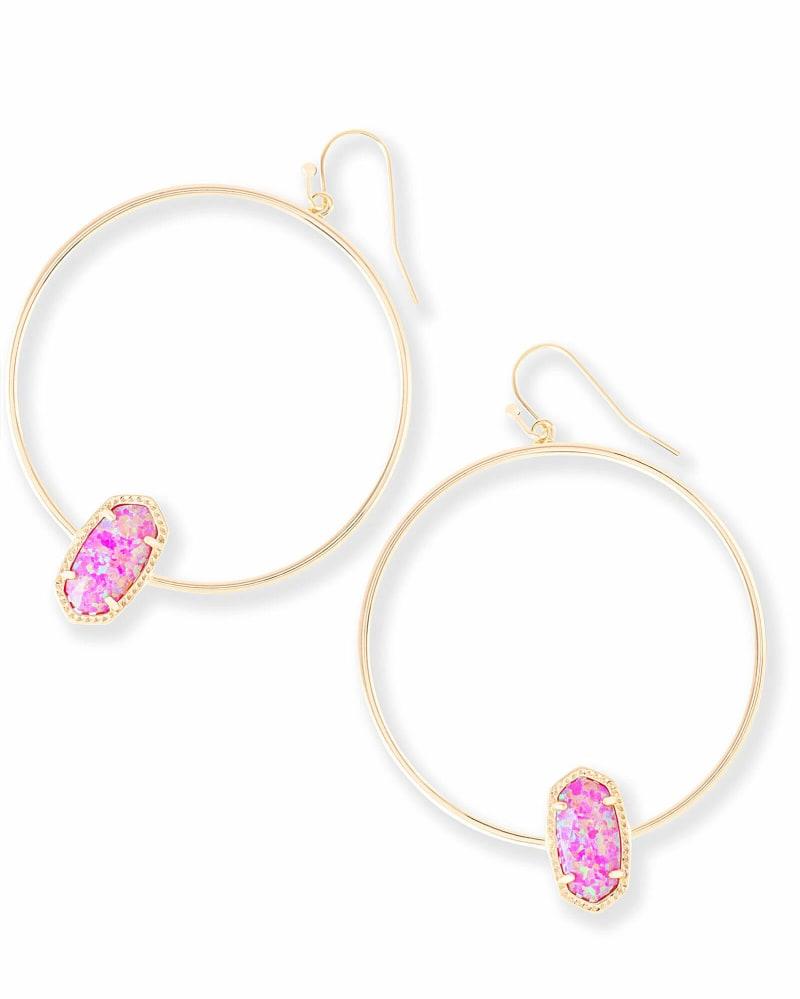 Elora Hoop Earrings in Fuchsia Kyocera Opal
