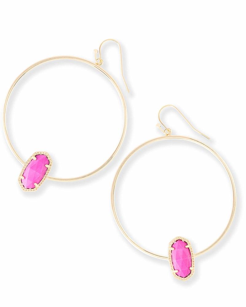 Elora Gold Hoop Earrings in Magenta