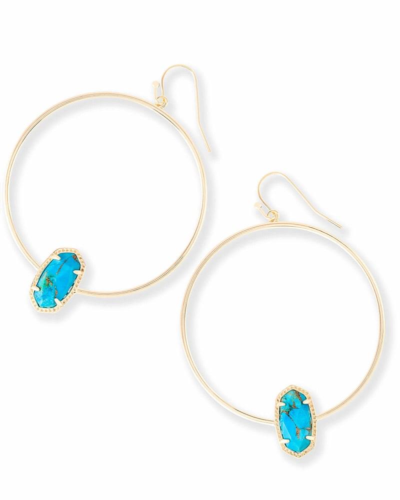 Elora Hoop Earrings in Bronze Veined Turquoise Magnesite