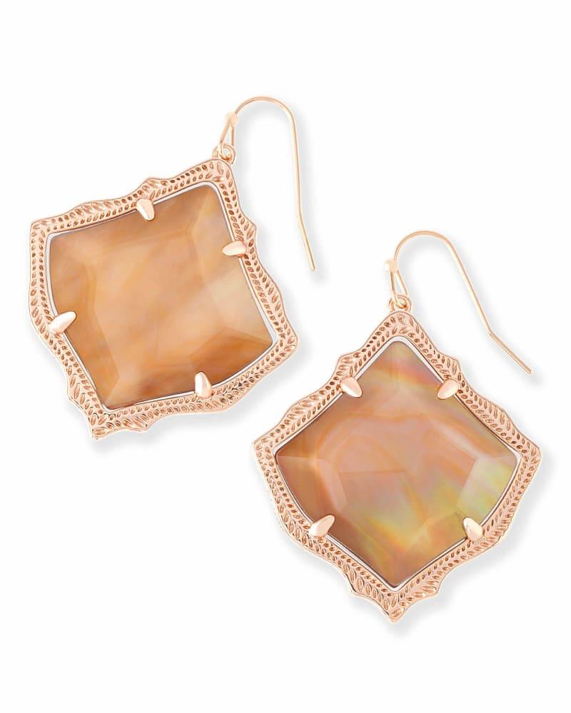 Kirsten Drop Earrings in Brown Pearl