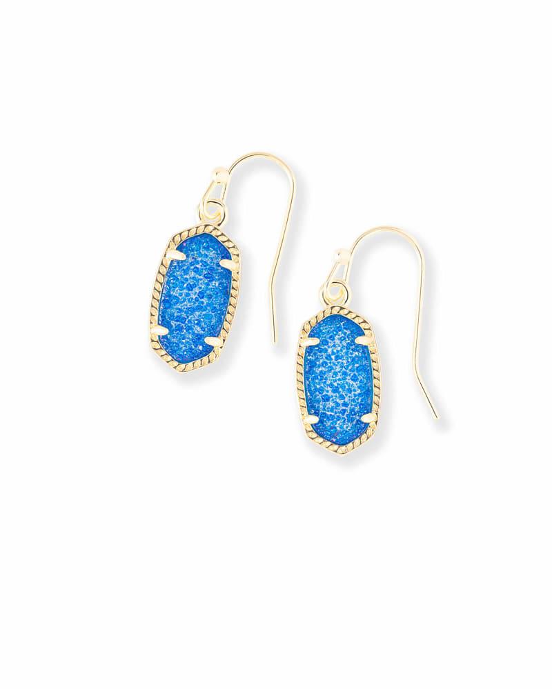 Lee Gold Drop Earrings in Cobalt Drusy