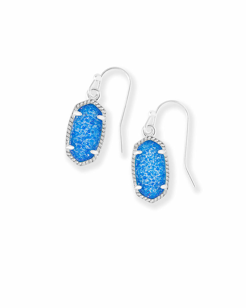 Lee Silver Drop Earrings in Cobalt Drusy