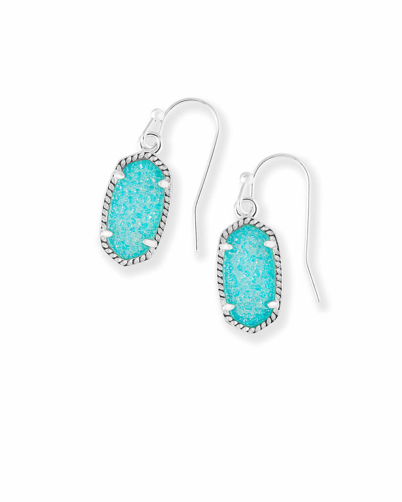 Lee Silver Drop Earrings in Teal Drusy