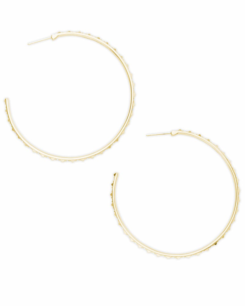 Val Gold Hoop Earrings in Iridescent Crystal