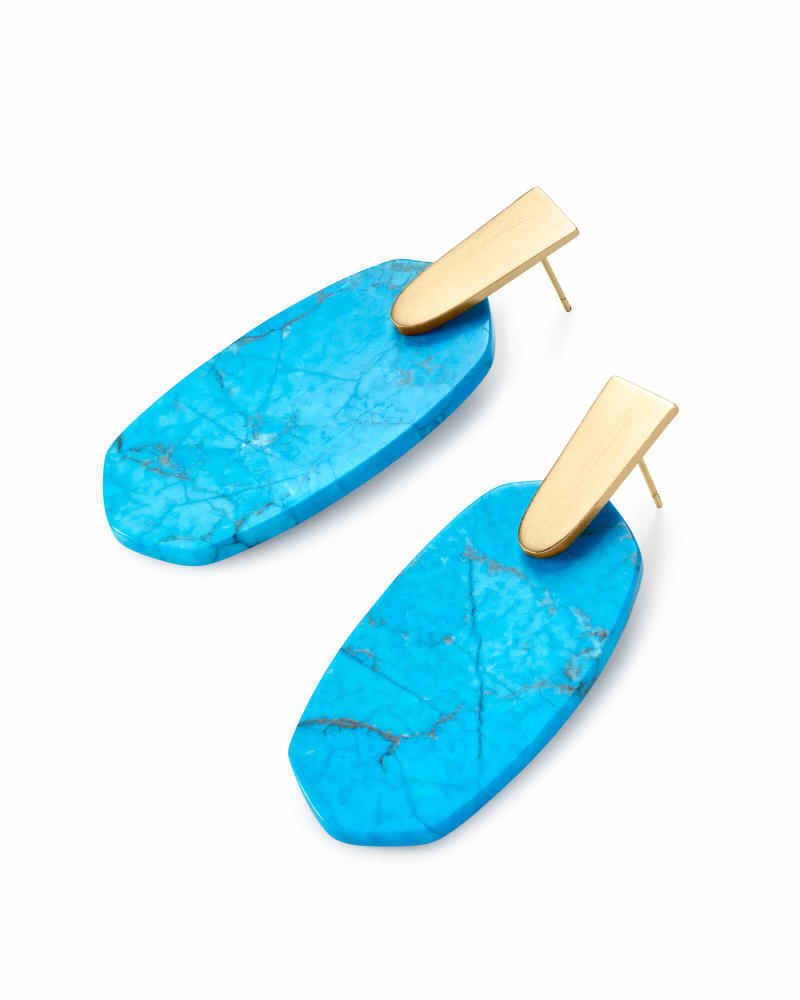 Aragon Gold Drop Earrings in Aqua Howlite