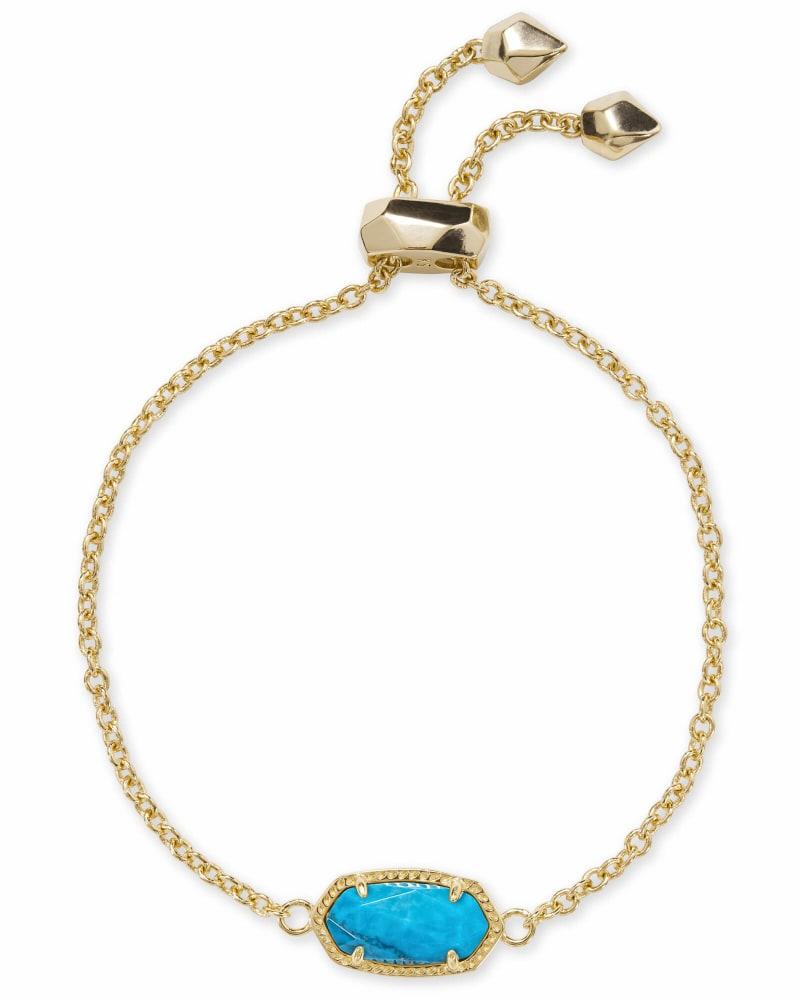 Elaina Gold Chain Bracelet in Aqua Howlite