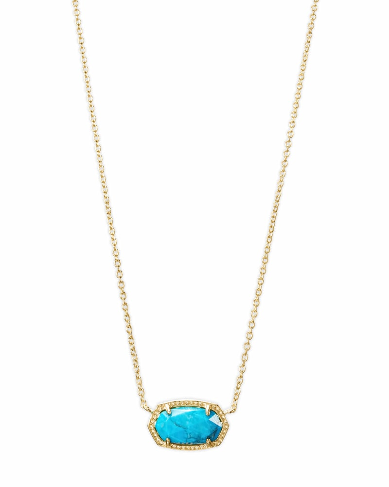 Elisa Gold Pendant Necklace in Aqua Howlite
