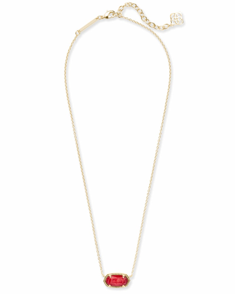 Elisa Gold Pendant Necklace in Red Mother-of-Pearl