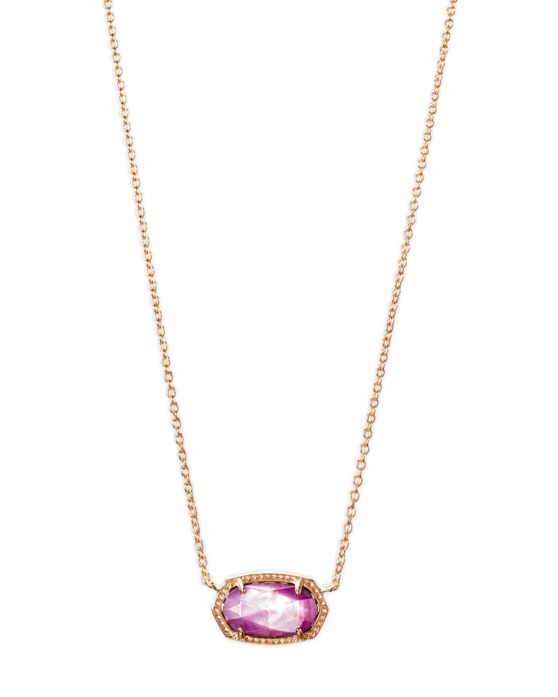Elisa Rose Gold Pendant Necklace Lilac Mother-of-Pearl