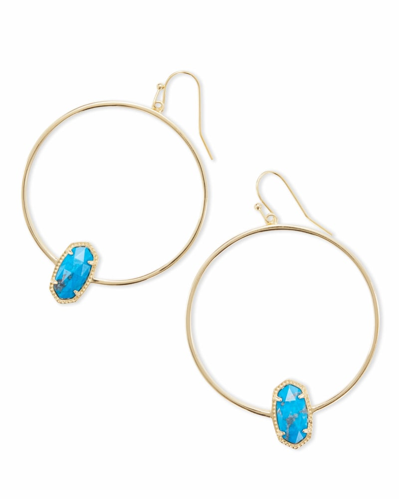 Elora Gold Hoop Earrings in Aqua Howlite