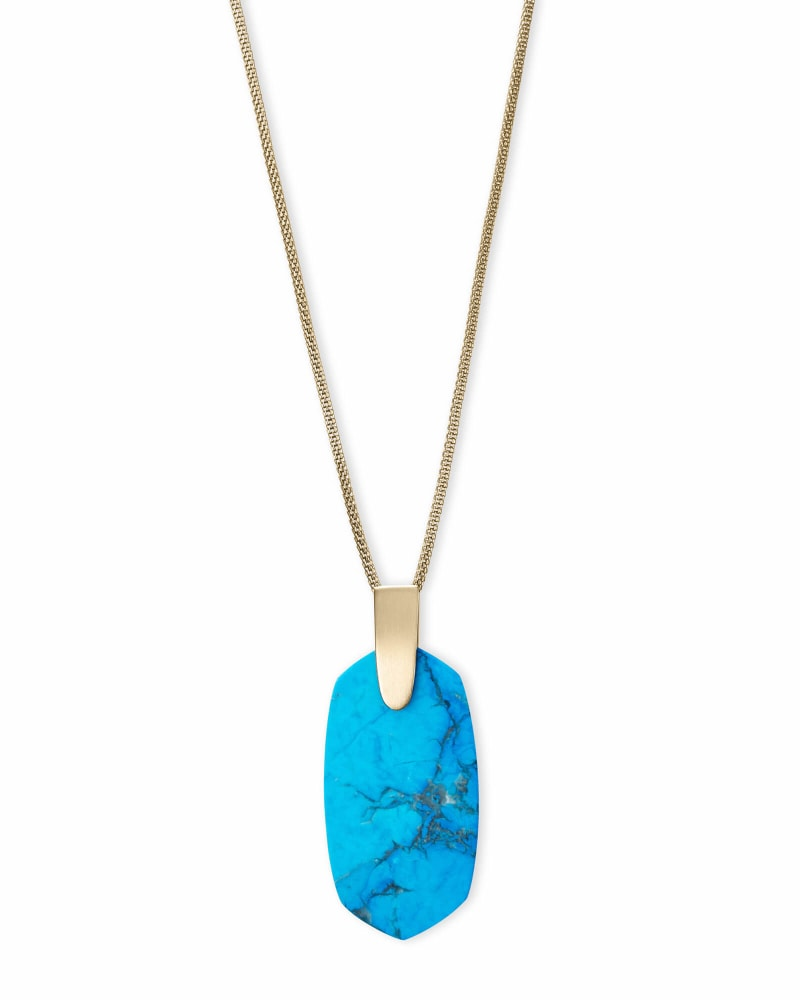 Inez Gold Long Pendant Necklace in Aqua Howlite