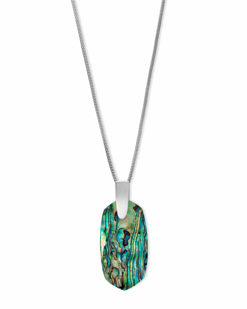 Inez Silver Long Pendant Necklace in Abalone Shell