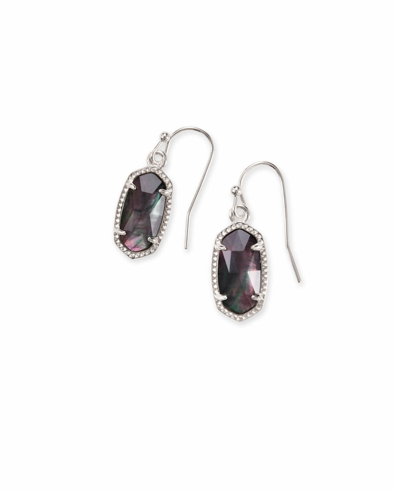 Lee Silver Drop Earrings in Black Mother-of-Pearl