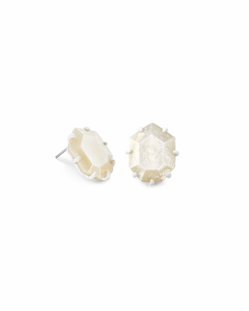 Morgan Matte Stud Earrings in Ivory Mother-of-Pearl