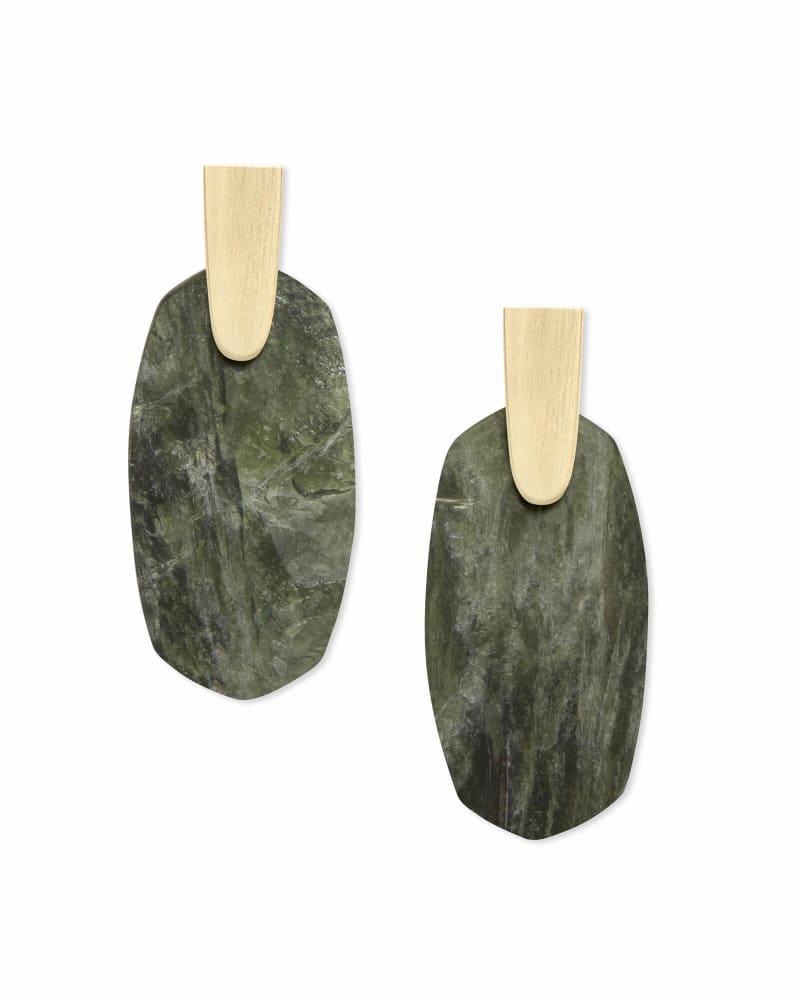 Aragon Gold Drop Earrings in Sage Mica