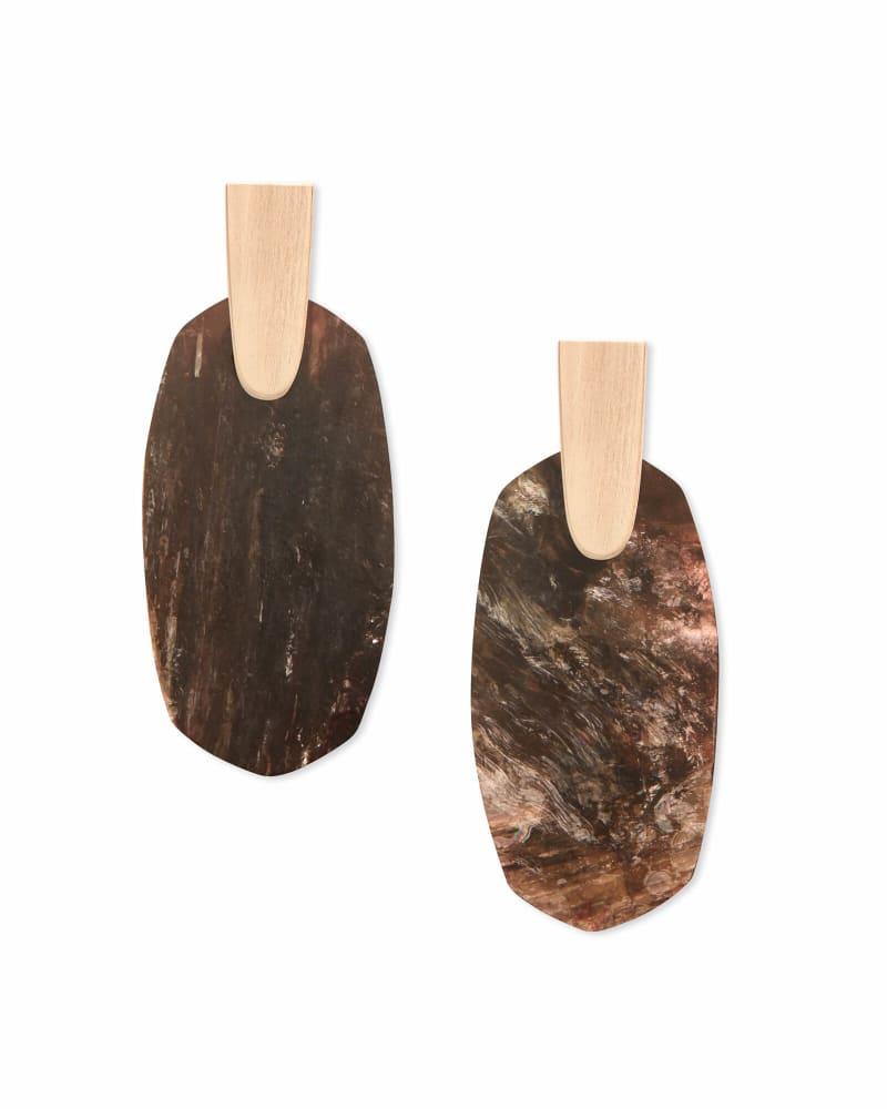 Aragon Rose Gold Drop Earrings in Sable Mica