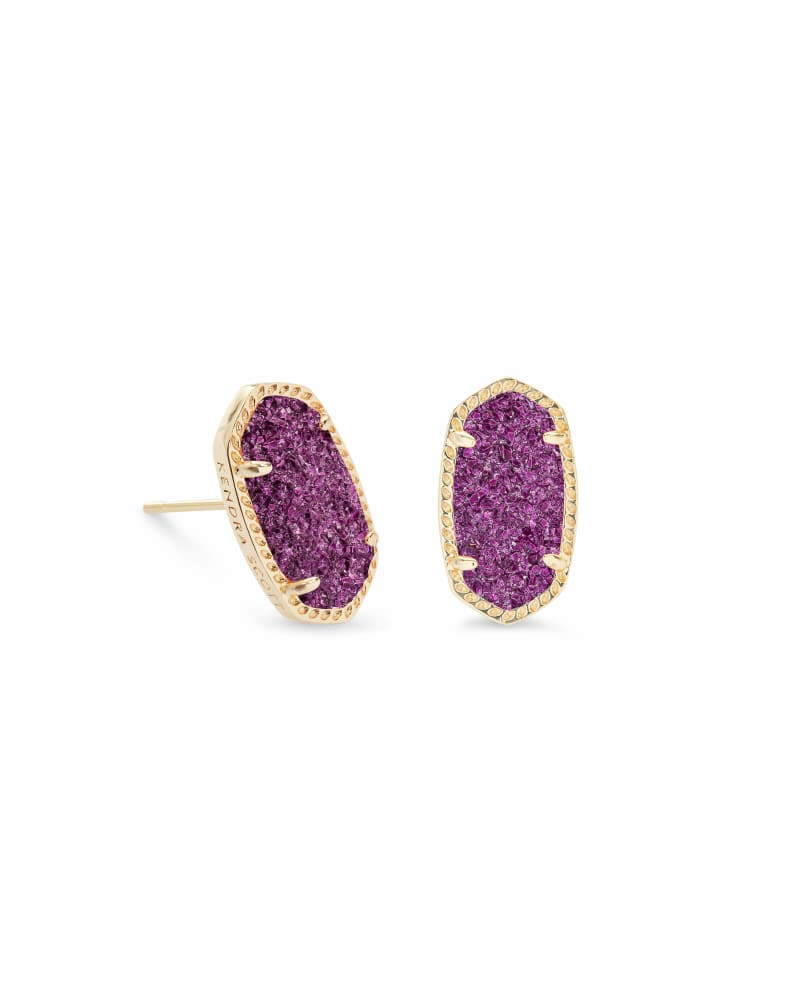 Ellie Gold Stud Earrings in Amethyst Drusy