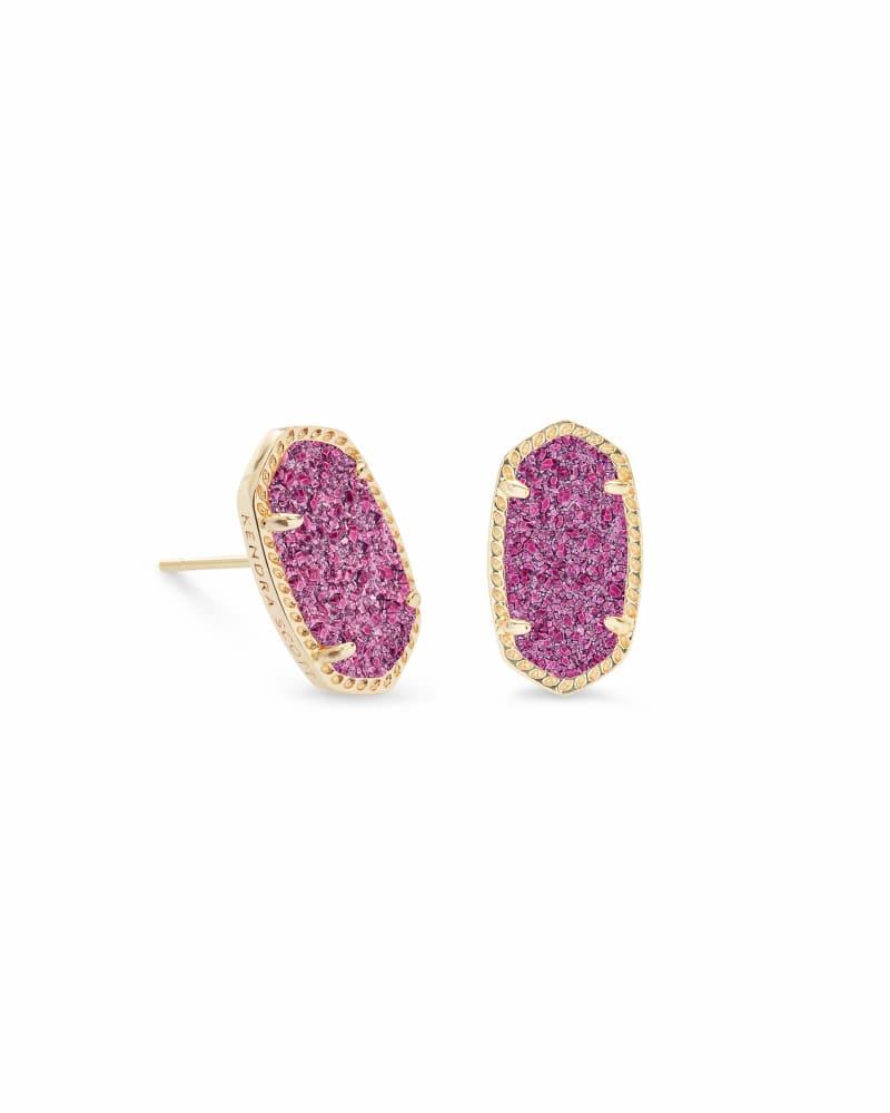 Ellie Gold Stud Earrings in Deep Fuchsia Drusy