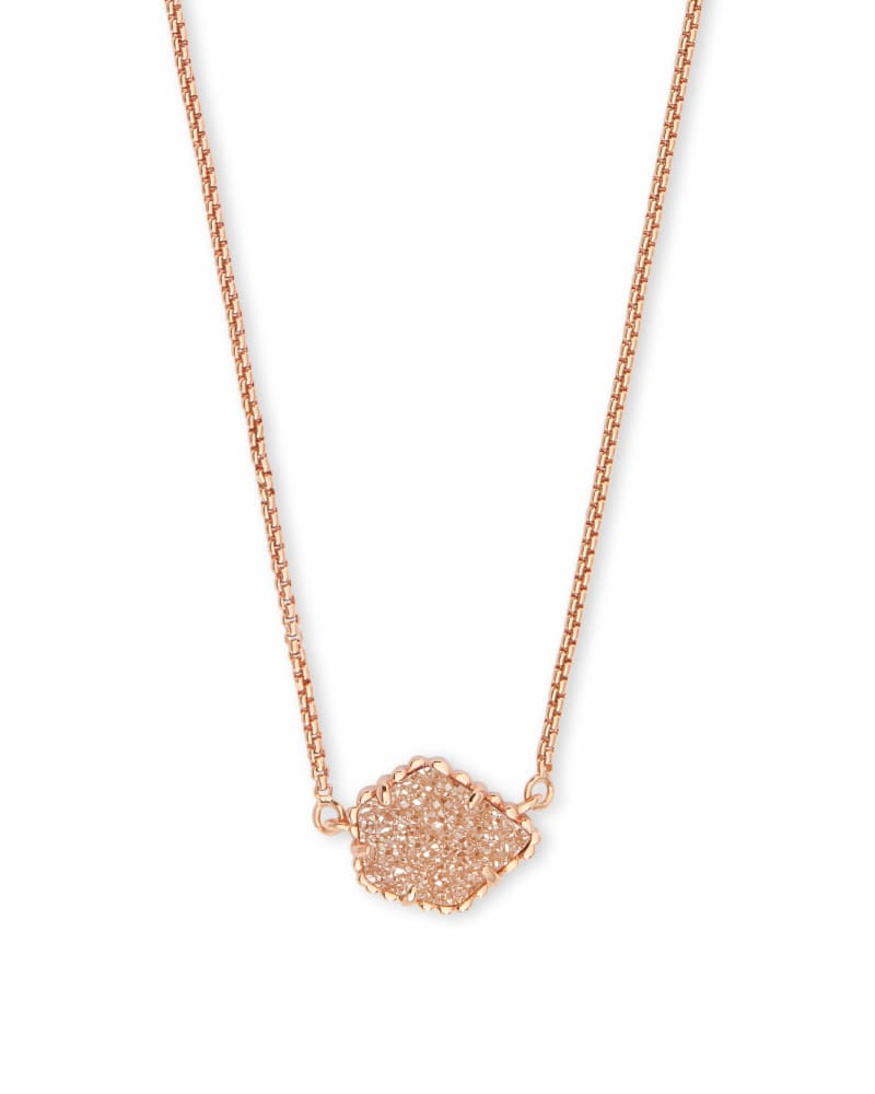 Tess Rose Gold Pendant Necklace in Sand Drusy