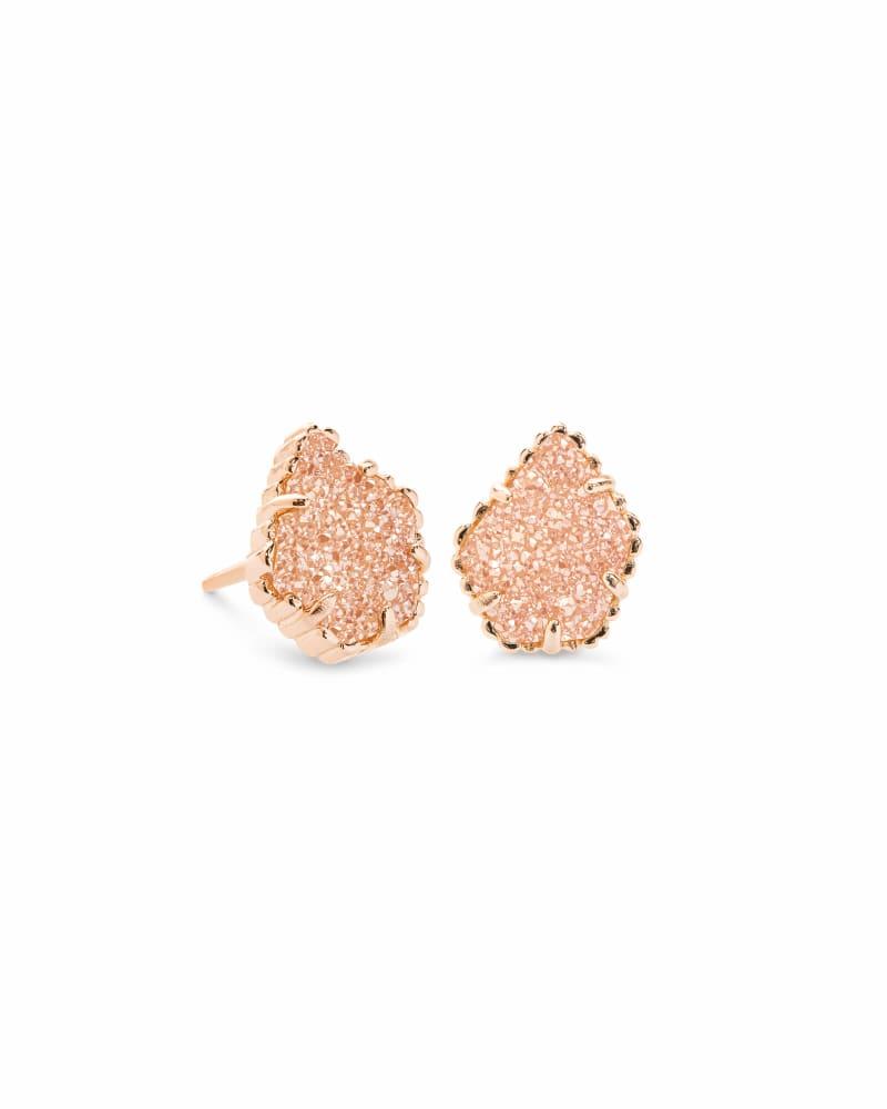 Tessa Rose Gold Stud Earrings in Sand Drusy