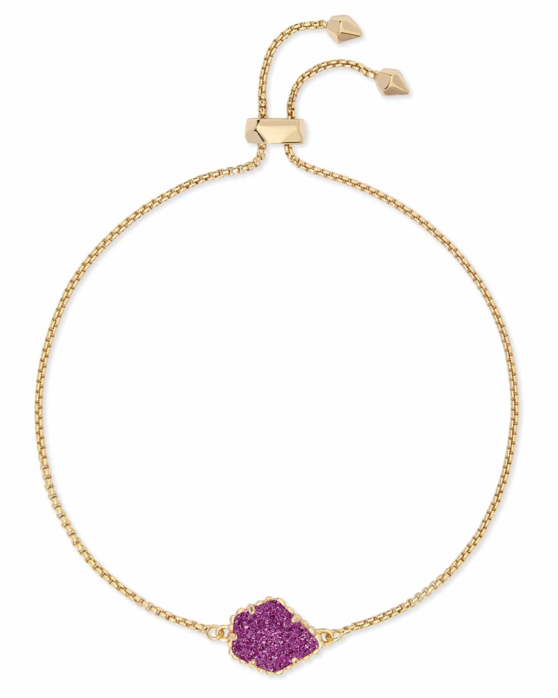 Theo Gold Adjustable Chain Bracelet in Amethyst Drusy