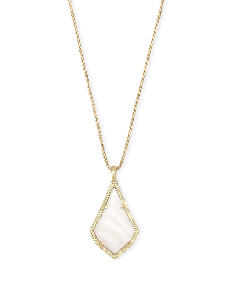 Alex Gold Pendant Necklace in White Mother-of-Pearl