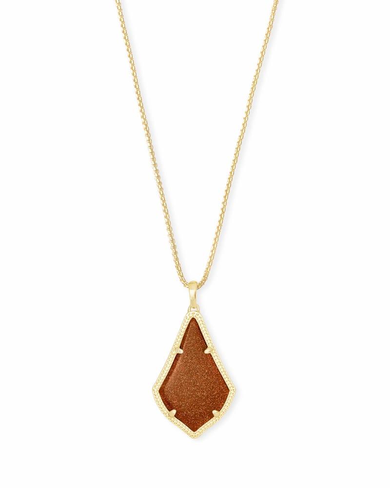 Alex Gold Pendant Necklace in Goldstone Glass