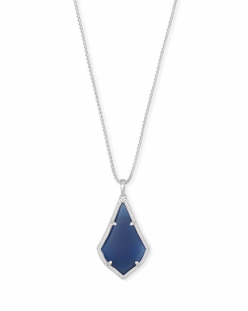 Alex Long Pendant Necklace in Silver