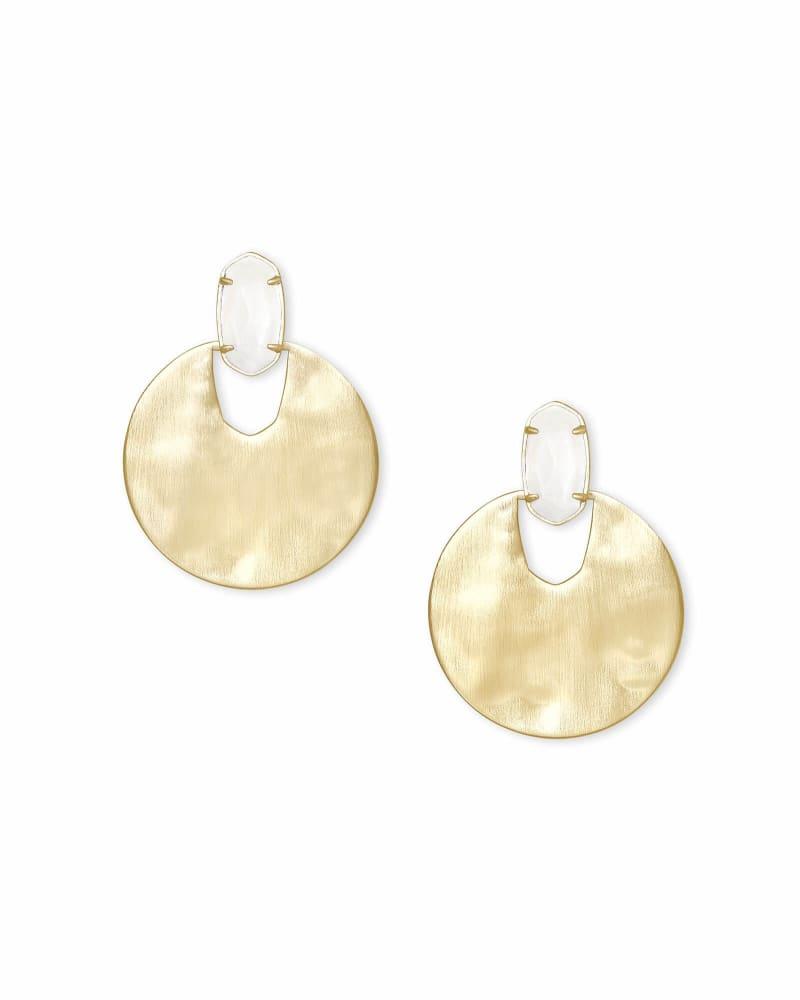 Deena Gold Hoop Earrings in White Mother-of-Pearl