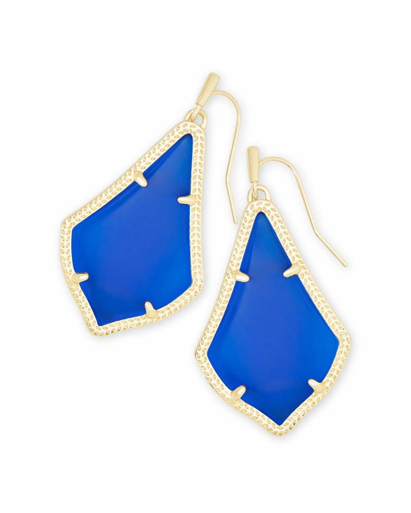 Alex Gold Drop Earrings in Cobalt Cat's Eye