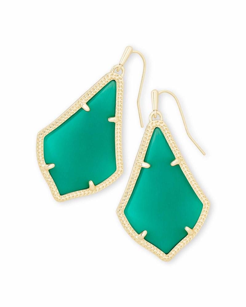 Alex Gold Drop Earrings in Emerald Cat's Eye