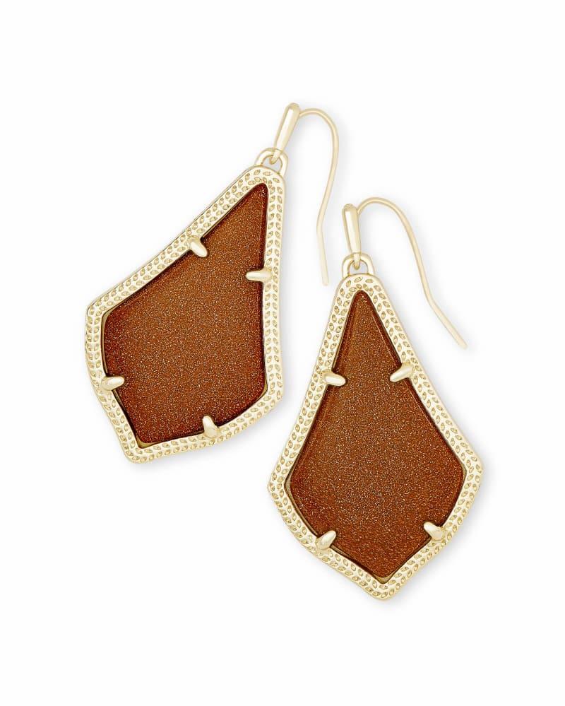 Alex Gold Drop Earrings in Goldstone Glass