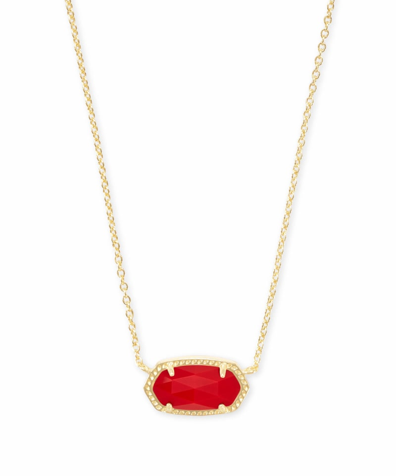 Elisa Gold Pendant Necklace in Bright Red Opaque Glass