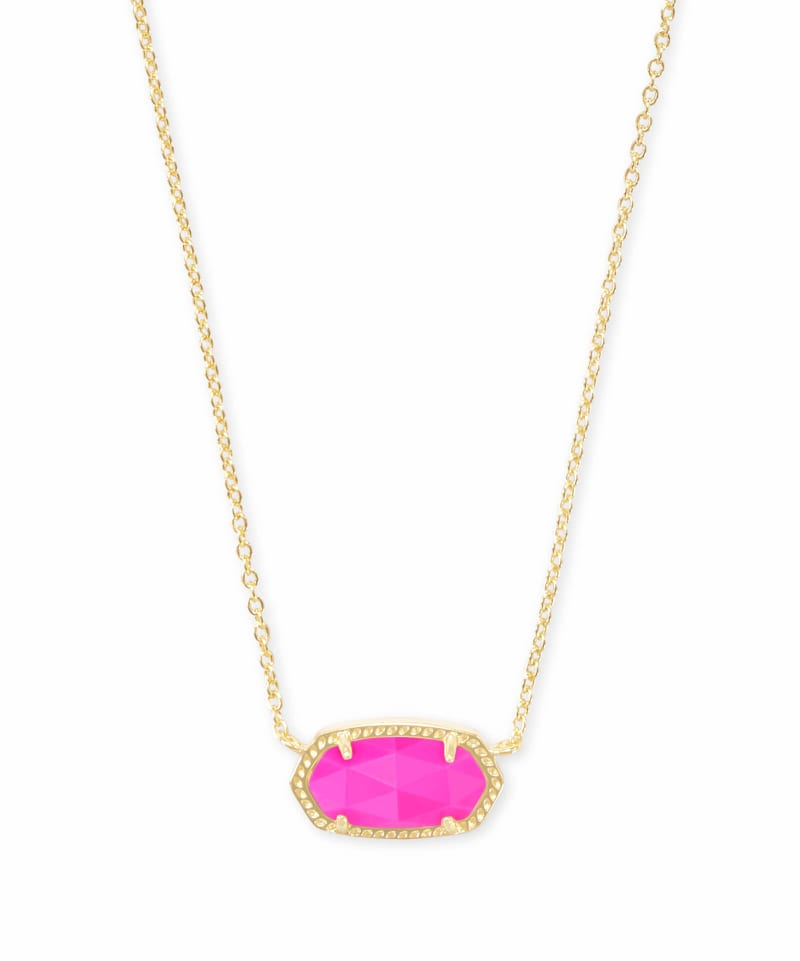 Elisa Gold Pendant Necklace in Magenta