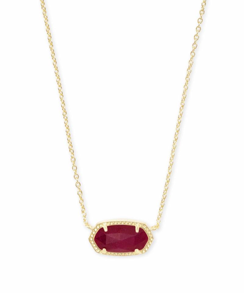 Elisa Gold Pendant Necklace in Maroon Jade