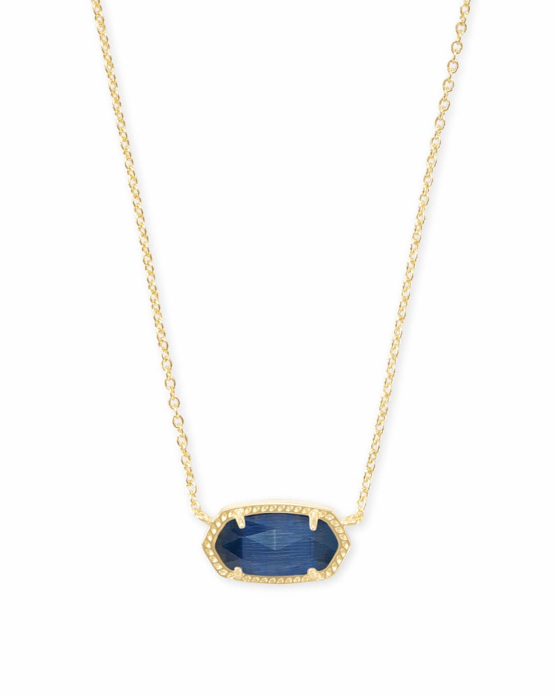 Elisa Gold Pendant Necklace in Navy Cat's Eye
