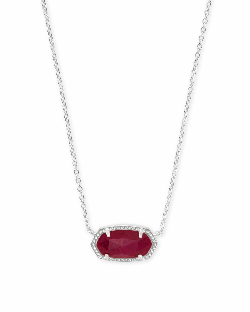 Elisa Silver Pendant Necklace in Maroon Jade