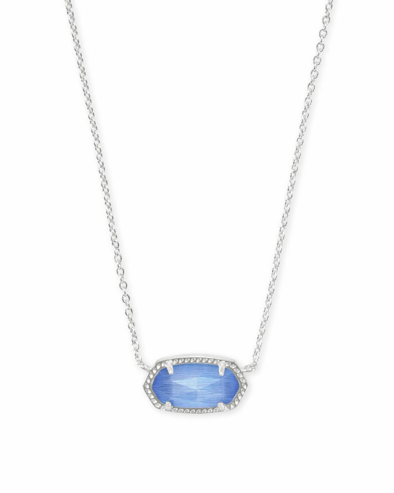 Elisa Silver Pendant Necklace in Periwinkle Cat's Eye