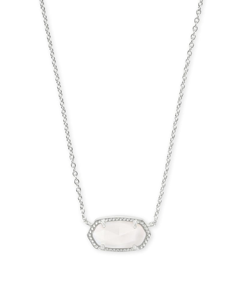 Elisa Silver Pendant Necklace in White Mother-of-Pearl